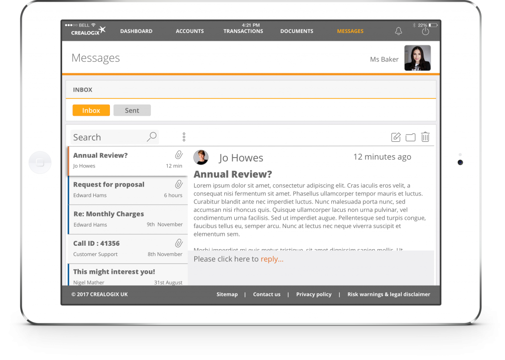 CREALOGIX Invest interface showing RM messages screen